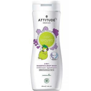 ATTITUDE Little leaves dětské tělové mýdlo a šampon 2 v 1 s vůní vanilky a hrušky 473 ml