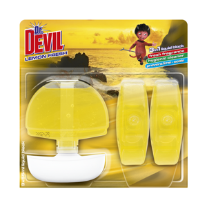 DR DEVIL Tekutý WC blok 3v1 Lemon Fresh 3 x 55 ml