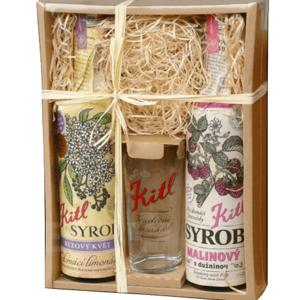 KITL Dárkové balení sirupů se skleničkou Syrob Malinový a Bezový
