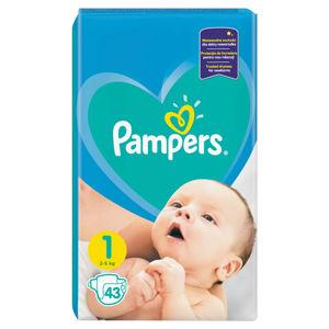 PAMPERS New Baby-Dry 1 Newborn 2-5 kg 43 kusů, poškozený obal