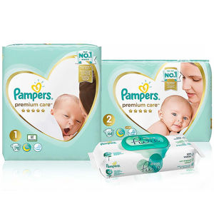 PAMPERS Premium Care Starter Pack pleny 78 a 68 ks + wipes 48 ks