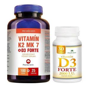 PHARMA ACTIV Vitamín K2 MK7+D3 Forte 125 tablet a Vitamín D3 Forte 2000 I.U. 30 tablet